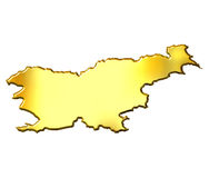 Slovenia 3d Golden Map Royalty Free Stock Photos