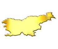 Slovenia 3d Golden Map Royalty Free Stock Photos