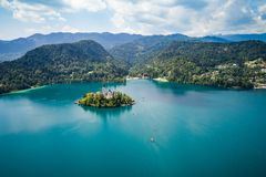 Slovenia Beautiful Nature - resort Lake Bled. Slovenia - Aerial view resort Lake Bled. Aerial FPV drone photography. Slovenia Beautiful Nature Castle Bled Stock Images