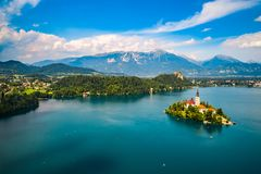 Slovenia - resort Lake Bled. Slovenia - Aerial view resort Lake Bled. Aerial FPV drone photography Stock Photo