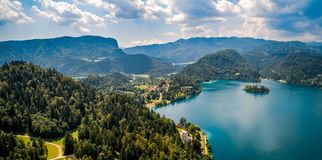 Slovenia - resort Lake Bled. Slovenia - Aerial view resort Lake Bled Royalty Free Stock Photos