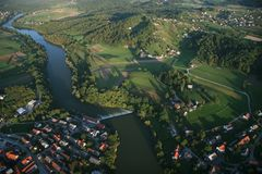 Slovenia from Air. High angle shot from a balloon. Novo Mesto with surrounding countryside. Slovenia Stock Images