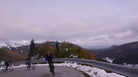 Slovenia. Autumn. The road on the slope of the valley stock footage