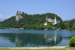 Slovenia, Bled. Slovenia, castle Bled aka Blejski Grad and Bled lake aka Blejsko Jezero and church St. Martin Stock Photos