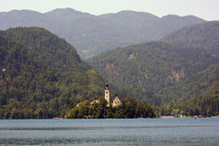 Slovenia, Bled. Slovenia, church Marijinega Vnebovzetja on island Blejski Otok - the one and only island in Slovenia Royalty Free Stock Image