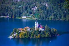 Slovenia. Europe  Lake Bled and historic church  view Royalty Free Stock Photography