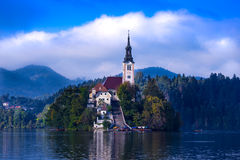 Slovenia. Europe  Lake Bled island church view Royalty Free Stock Photo