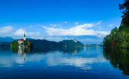 Slovenia. Europe  Lake Bled island church view Stock Images