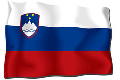 Slovenia Flag. Flag of Slovenia waving in the wind Vector Illustration