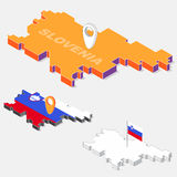 Slovenia flag on map element with 3D isometric shape isolated on background Royalty Free Stock Photography
