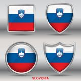 Slovenia Flag in 4 shapes collection with clipping path Stock Image