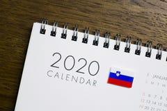 Slovenia flaga na 2020 kalendarzu obraz royalty free