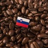 Slovenia flaga umieszczająca nad piec kawowymi fasolami obraz stock