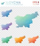 Slovenia geometric polygonal maps, mosaic style. Royalty Free Stock Image