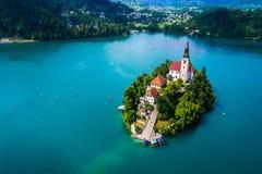Slovenia - kurortu jezioro Krwawiący obrazy royalty free