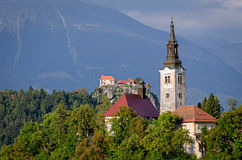 Slovenia, Lake Bled Island and Castle Stock Photography