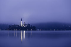 Slovenia. Lake Bled island church Royalty Free Stock Image