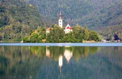 Slovenia lake Bled with mountain in background - landscape Royalty Free Stock Image