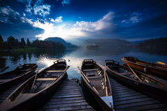 Slovenia. Lake Bled touristic boats Stock Images