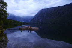 Slovenia Lake Bohinj. With a fishing dock Royalty Free Stock Photos