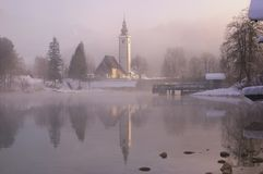 Slovenia, Lake Bohinj - winter picture with fog Stock Images