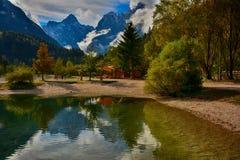 Slovenia, Lake with the mountains view. Stock Photo