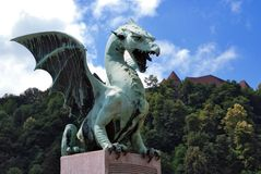 Slovenia Ljubljana Dragon at Zmajski Most Royalty Free Stock Photography