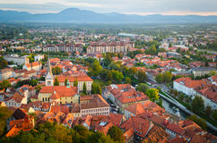 Slovenia, Ljubljana. Panoramic view at sunset Royalty Free Stock Photo
