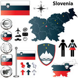 Slovenia map. Vector set of Slovenia country shape with flags, buttons and icons isolated on white background Stock Images