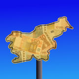 Slovenia map with cash Royalty Free Stock Image