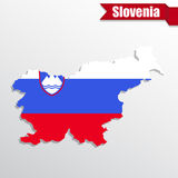 Slovenia map with flag inside and ribbon Royalty Free Stock Photo