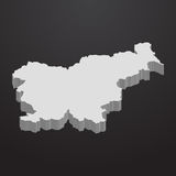 Slovenia map in gray on a black background 3d. Slovenia  map in gray on a black background 3d Royalty Free Stock Photo