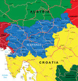 Slovenia map. Highly detailed vector map of Slovenia with administrative regions, main cities and roads Royalty Free Stock Image