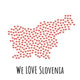 Slovenia Map with red hearts - symbol of love. abstract background. Slovenia Map with red hearts- symbol of love. abstract background with text We Love Slovenia Stock Photography