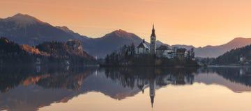 slovenia Mattina nel lago sanguinato Fotografia Stock