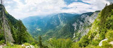 Slovenia mountains, Julian alps. Look and view of big mountains in Triglav national park. Tourist path and hiking stock images