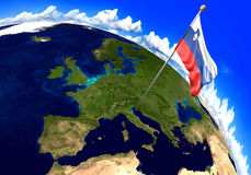 Slovenia national flag marking the country location on world map. 3D rendering, parts of this image furnished by NASA. 3D render of the national flag of Slovenia Royalty Free Stock Images