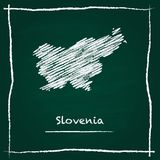 Slovenia outline vector map hand drawn with chalk. Stock Images