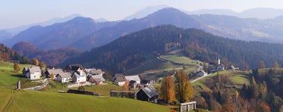Slovenia panorama. Rural village of Sorica in Slovenia stock photos