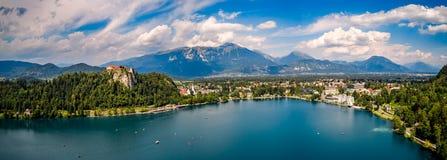 Slovenia - panorama kurortu jezioro Krwawiący Obraz Royalty Free