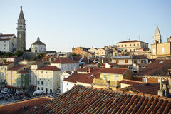 Slovenia / Piran view. View of the central square of tourist town Piran Stock Image