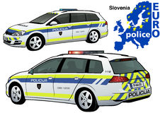 Slovenia Police Car. Colored Illustration from Series Europol, Vector Stock Photo