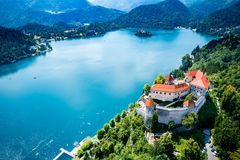 Slovenia - resort Lake Bled. Slovenia - Aerial view resort Lake Bled. Aerial FPV drone photography royalty free stock images