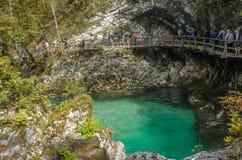 SLOVENIA, SOTESKA VINTGAR - Wrzesień 30, 2017 Zdjęcie Royalty Free