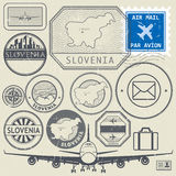 Slovenia travel or adventure theme stamps or labels set Royalty Free Stock Photo