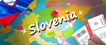 Slovenia travel concept map background with planes,tickets. Visit Slovenia travel and tourism destination concept. Slovenia flag stock illustration