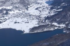 Slovenia, panorama above lake Bohinj - winter picture stock images
