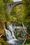 Slovenia, Vintgar Gorge. Photo of waterfall in Vintgar Gorge in Slovenia, with bridge over it Stock Photo