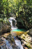 Slovenia waterfall River in the forest near Bovec. Slovenia sunset waterfall River in the forest Royalty Free Stock Photography