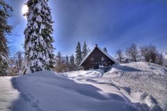 Slovenia - winter picture. Photo was taken near lake Bohinj in Julian Alps. There is beautiful place for tourism and skiing. Everything is covered with snow stock image